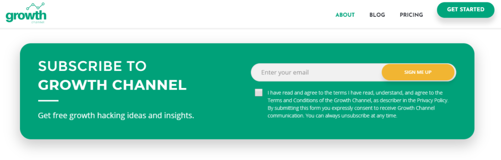 growth channel blog subscription form