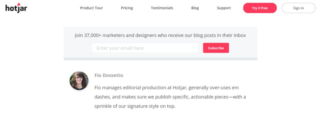 hotjar blog subscription form