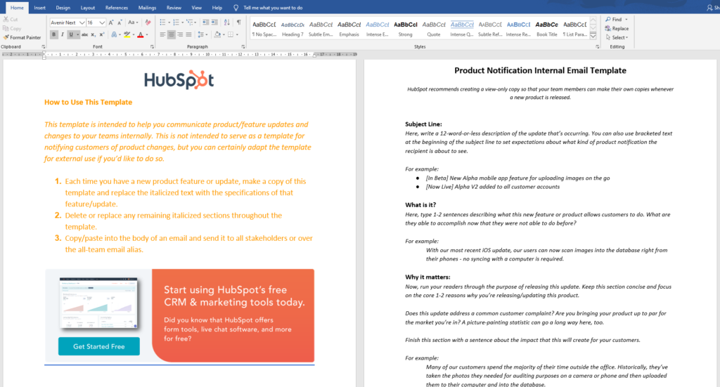 Hubspot's product marketing lead magnet